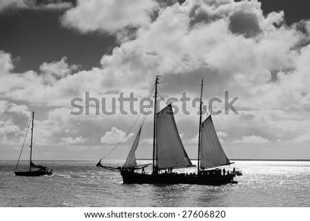 traditional sailboat, black and white photo