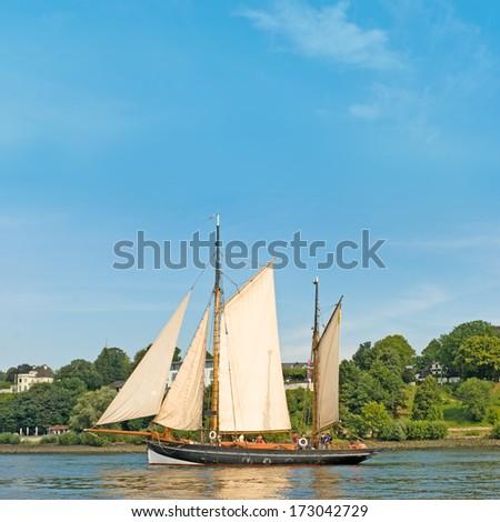 Traditional sailing ship / Hamburg Elbe Blankenese - stock photo