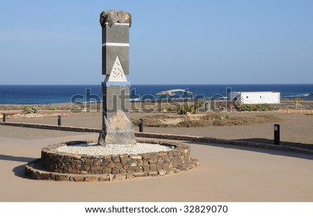 Traditional saline and whale skeleton on Canary Island Fuerteventura, Spain - stock photo