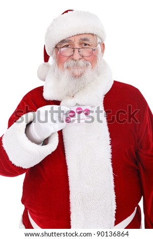 traditional Santa Claus holding credit card, Santa money, isolated on white background - stock photo