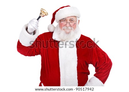 traditional Santa Claus ringing on a bell, concept coming Christmas, isolated on white background - stock photo