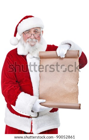 Traditional Santa Claus with a paper scroll, isolated on white background - stock photo