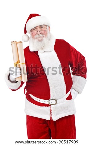 traditional Santa Claus with  real beard holding scroll paper with wishes, isolated on white background - stock photo