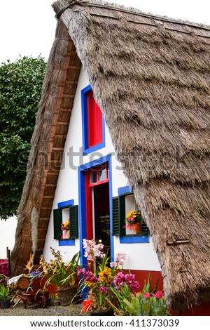 Traditional Santana house in Madeira, Portugal - stock photo