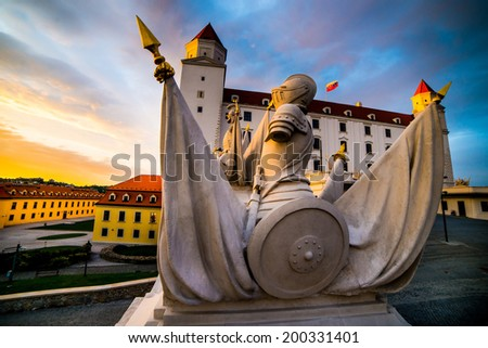 Traditional sculptural group of Bratislava castle - stock photo