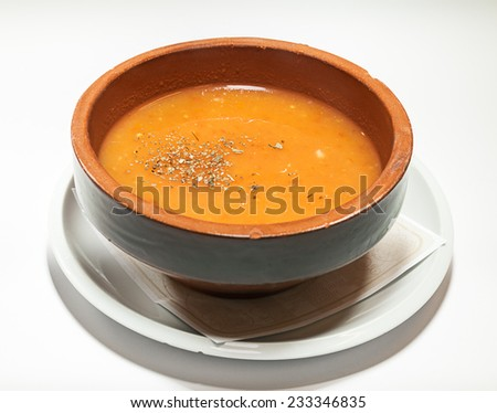 Traditional Serbian soup served in vintage retro dish.  - stock photo