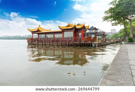 Traditional ship at the Xihu (West lake), Hangzhou, China - stock photo