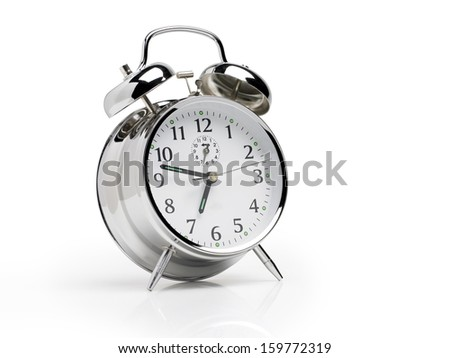 Traditional silver alarm clock on a white background with a refllection - stock photo