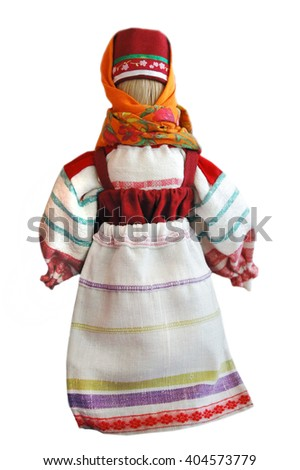 Traditional Slavic rag doll. Isolated on white