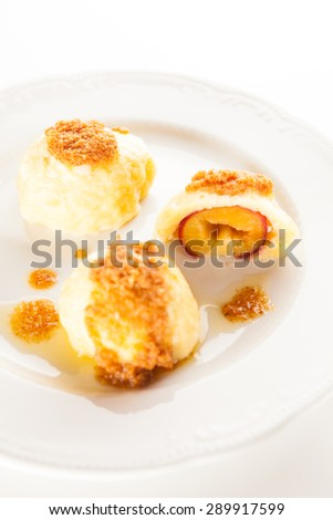 Traditional Slovenian plum dumplings - stock photo