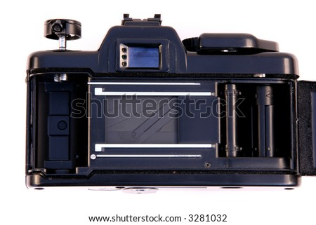 Traditional SLR photo camera. Inside view of the shutter. Good, old photographic equipment.