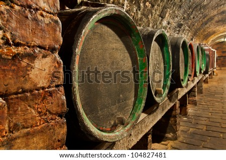 Traditional small wine cellar, picture taken at Moravia, Czech Republic. - stock photo