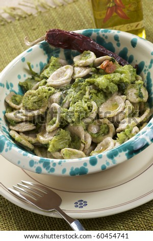 "traditional south italian recipe ""orecchiette with rapeseeds tips"""