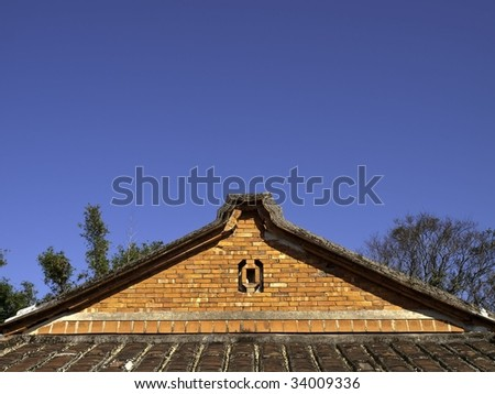 Traditional southern Chinese countryside house roof, side-view - stock photo