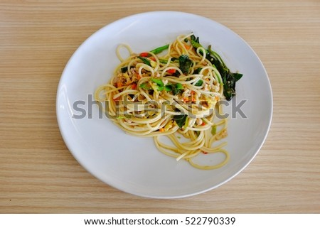 spaghetti ham zucchini top view plate stock photo 593066366 shutterstock. Black Bedroom Furniture Sets. Home Design Ideas