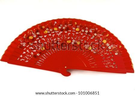 Traditional Spanish Flamenco Red Fan - stock photo