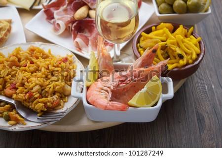 traditional spanish tapas variety - stock photo