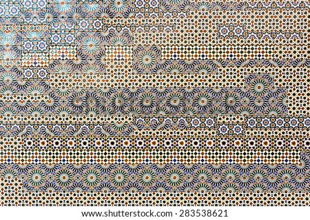 Traditional spanish tiles on the wall in Toledo, Spain - stock photo
