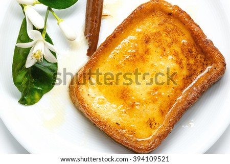 Traditional Spanish torrijas (French toasts). Dessert of Lent and Holy Week - stock photo