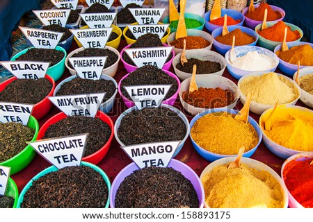 Traditional spices and tea market in India - stock photo