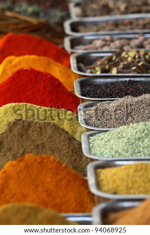 Traditional spices market in India. - stock photo