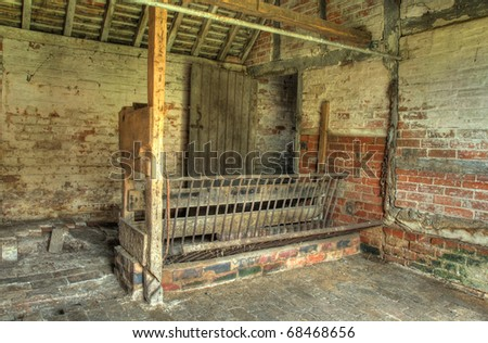 Traditional stable with horse feeder, England.