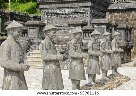 Traditional statue of Khai-Dinh, Vietnam - stock photo