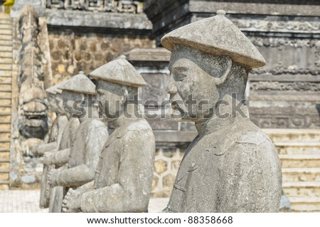 Traditional statue of Khai-Dinh (Vietnam) - stock photo
