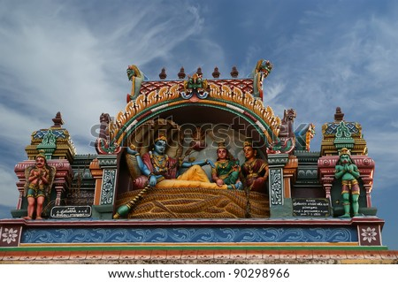 Traditional statues of gods and goddesses in the Hindu temple, south India, Kerala - stock photo