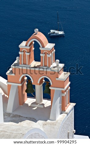 Traditional steeple from Oia village of Santorini island in the  aegean sea, Cyclades, Greece - stock photo