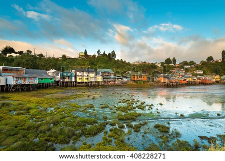 Traditional stilts houses known as palafitos in Castro, Chiloe island, Chile - stock photo