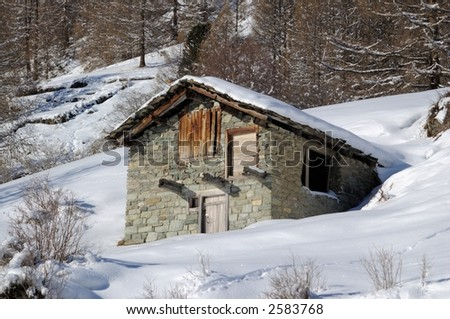 Traditional stone cottage in Zermatt, Switzerland