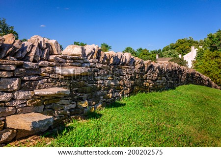 Traditional stone fence in Kentucky - stock photo