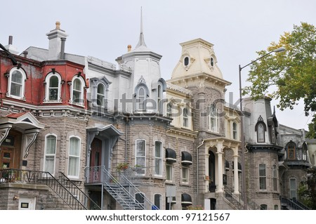 Traditional stone houses in old Quebec City, Quebec, Canada. - stock photo