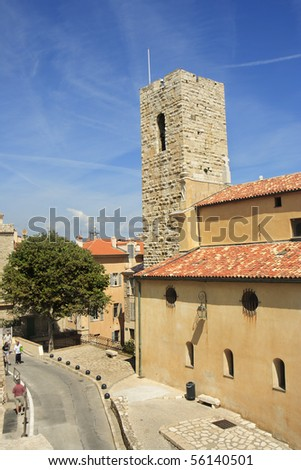 Traditional Street in Antibes Old Town - stock photo