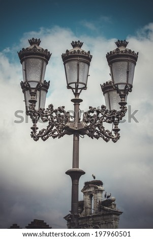 traditional street lamp with decorative metal flourishes - stock photo
