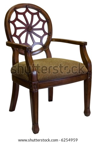 Traditional  Style Accent Chair with Cherry Wood Trim