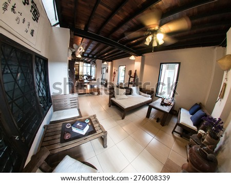 Traditional Style Asian Thai Chinese Wooden House - stock photo