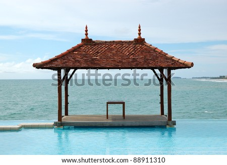 Traditional style hut at the sea view swimming pool, Bentota, Sri Lanka