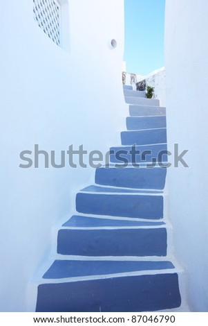 traditional style stairway of Santorini, Greece
