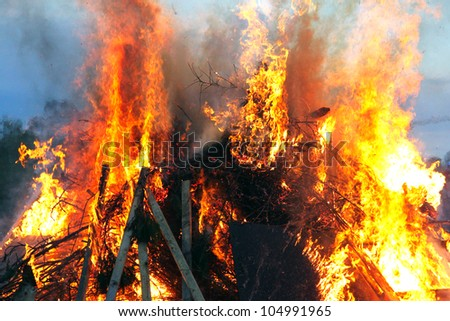 Traditional Swedish Walpurgisnight fire - stock photo