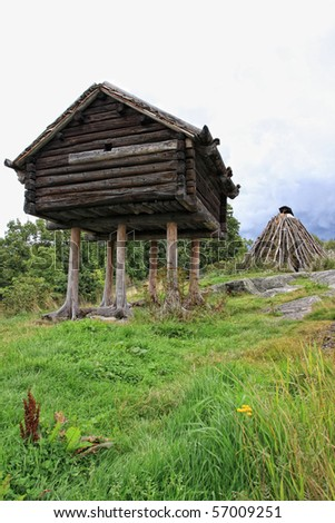 Traditional Swedish wooden hut, Skansen Stockholm - stock photo