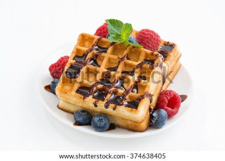 traditional sweet waffles on white table, closeup - stock photo