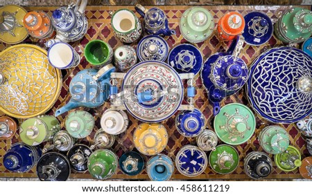 Traditional Tagine Morocco souvenirs in Fes (Fez)