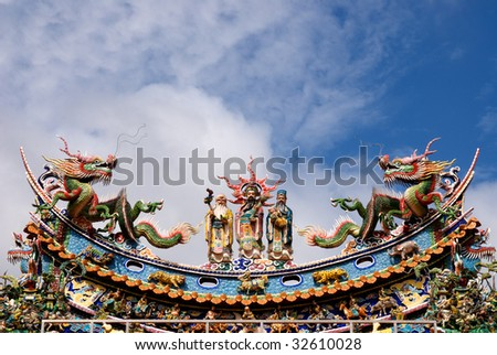 traditional taoism temple's roof  in Taiwan,asia. - stock photo