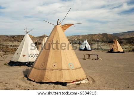 Traditional teepee village - stock photo