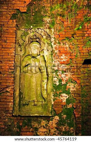 Traditional Thai a bas-relief of wall. It is photographed on Koh Chang island. Thailand - stock photo