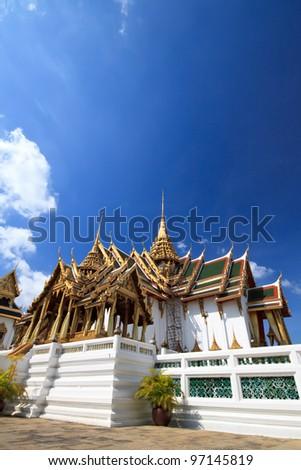Traditional Thai architecture Grand Palace Bangkok or Wat Phrasrirattana Sasadaram (Wat Phra Kaeo),Thailand - stock photo