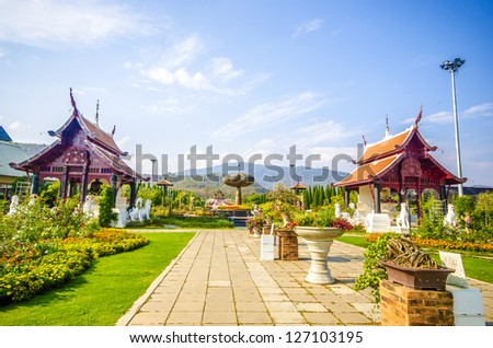 Traditional thai architecture in the Lanna style , Royal Pavilion at Royal Flora Expo, Chiang Mai, Thailand - stock photo