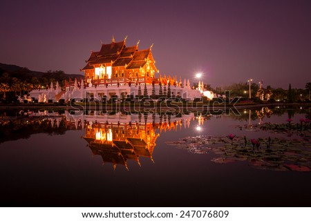 Traditional thai architecture in the Lanna style , Royal Pavilion (Ho Kum Luang) - stock photo